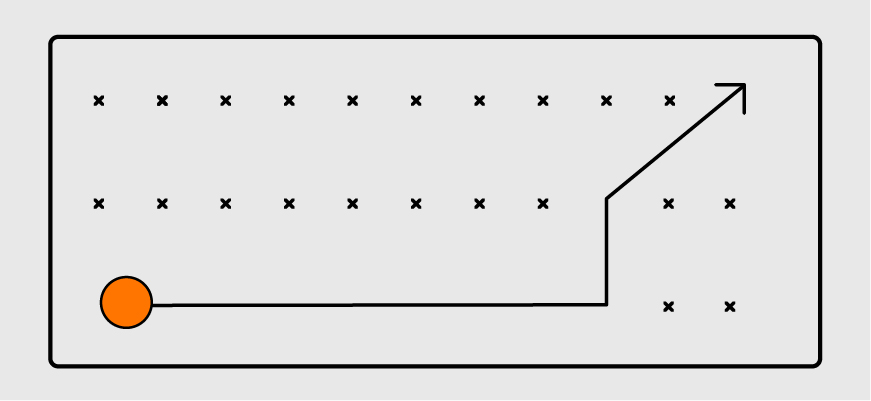 rectangle with pointed arrow maneuvering around dotted maze, emphasizing the importance of assessing the approach of a web design company