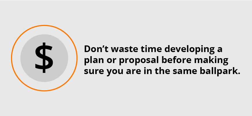 dollar sign graphic accompanied by paragraph emphasizing not to waste time developing a plan or proposal before making sure you are in the same ballpark