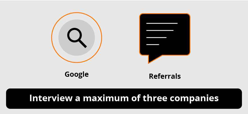 spyglass and comment box graphics pointing to the importance of using Google and referrals to interview a maximum of three web design companies