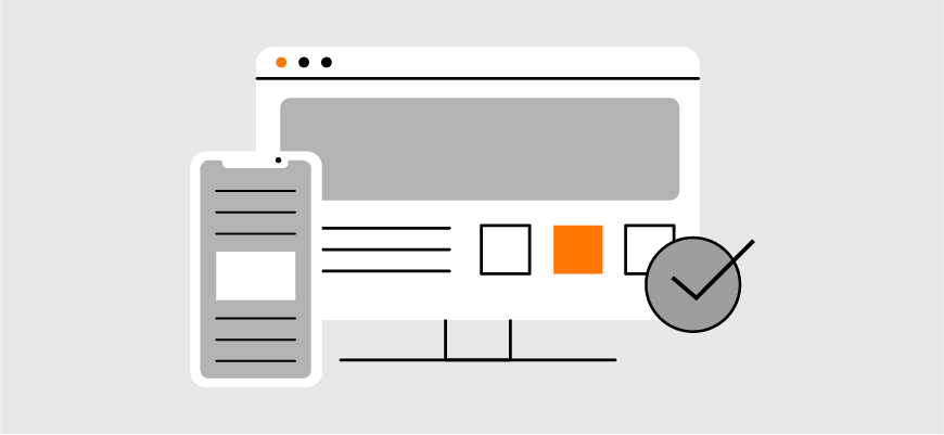 graphic emphasizing the importance of cross platform websites that can be viewed on desktops and mobile devices