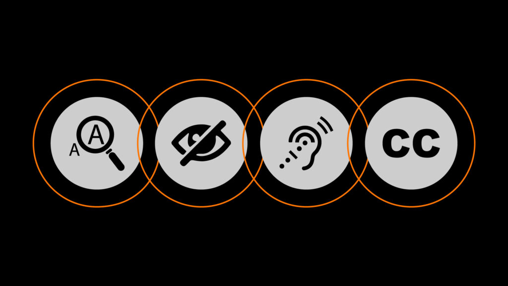 four icons symbolizing important factors for ada compliance including text size, the visually impaired, hearing impaired and closed captions
