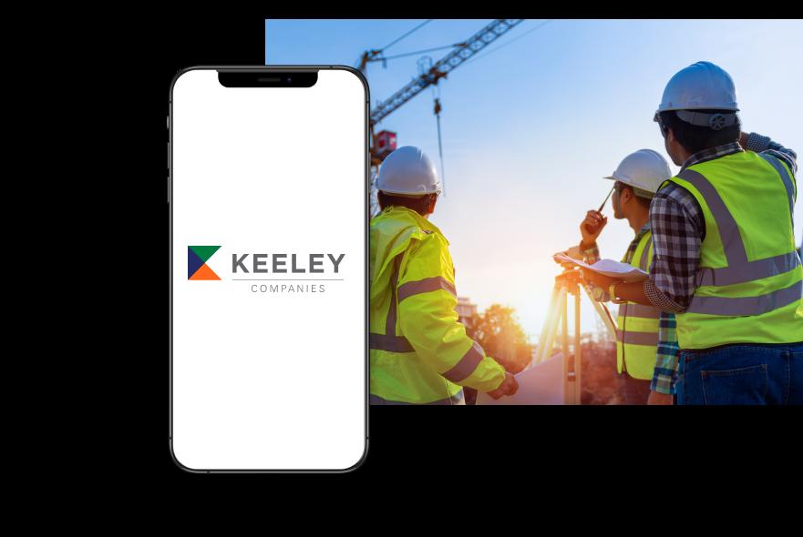 Iphone showcasing Keely logo