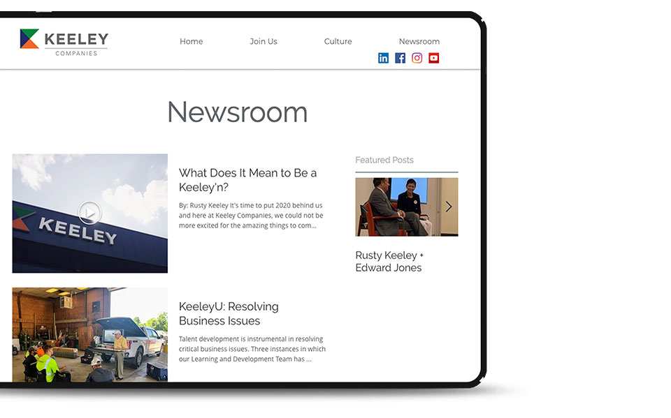 ipad of Keely's news page