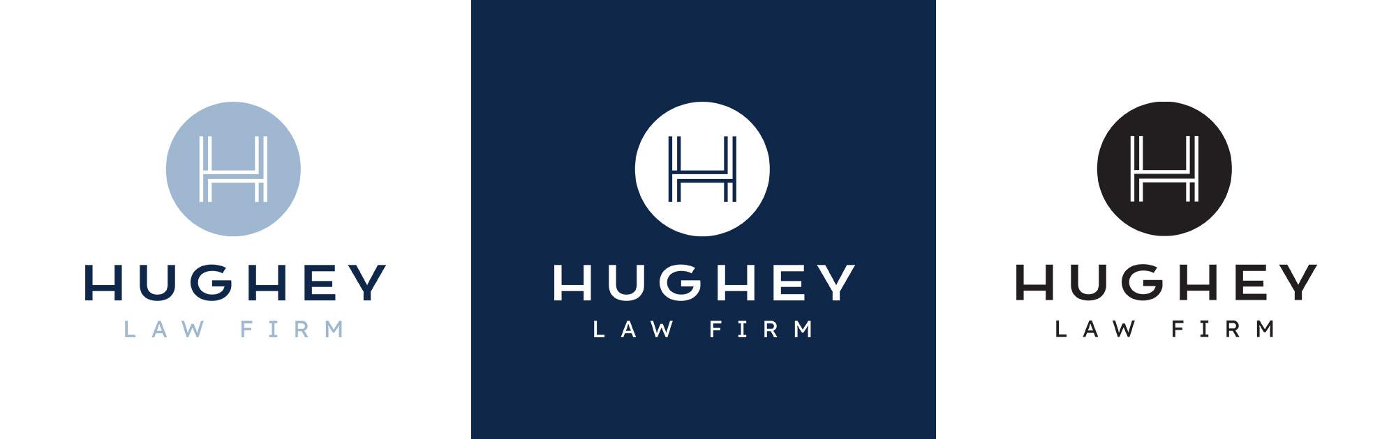 Hughey logo in full color, white and black
