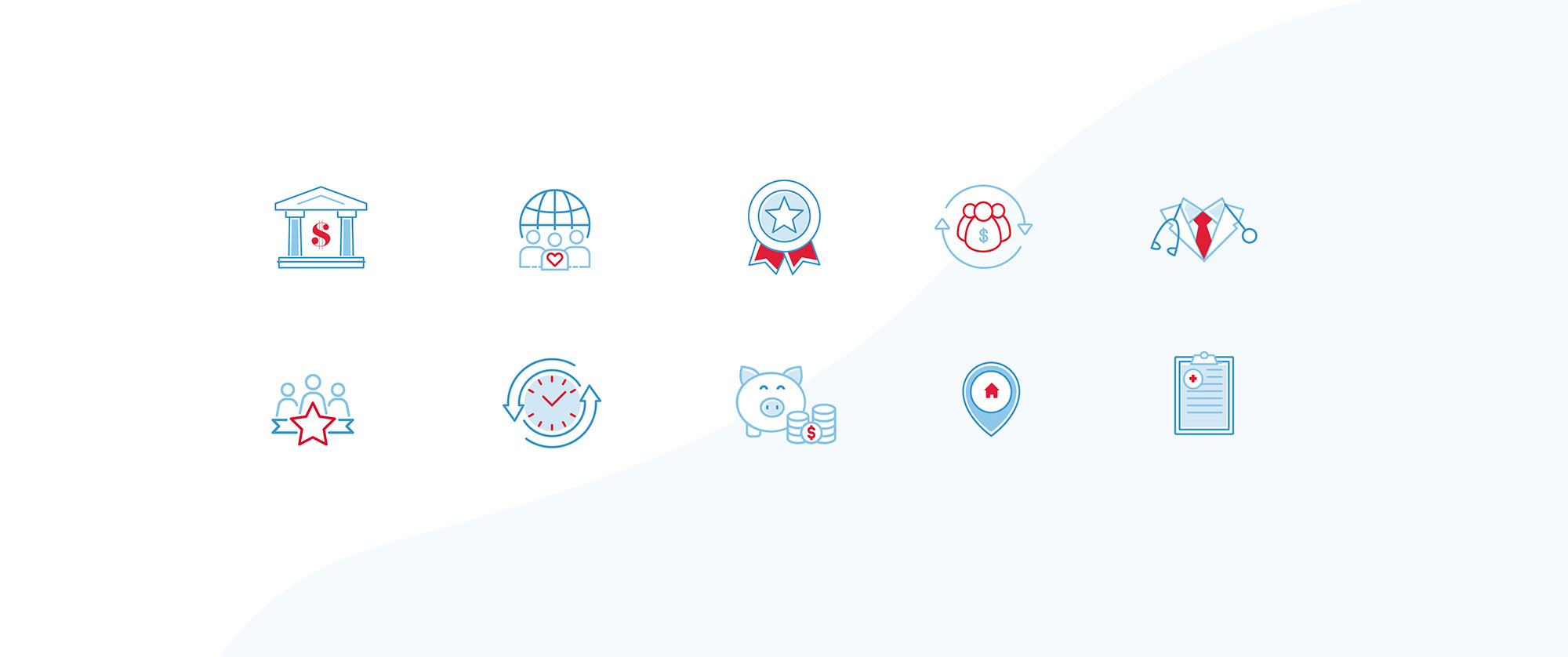 Collection of branded icons including ribbon, pin drop, clock and more