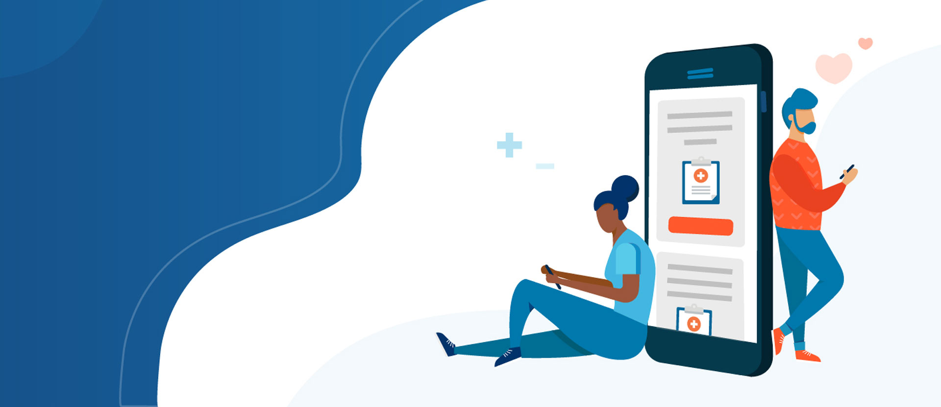 Illustration of two people lending on a giant phone