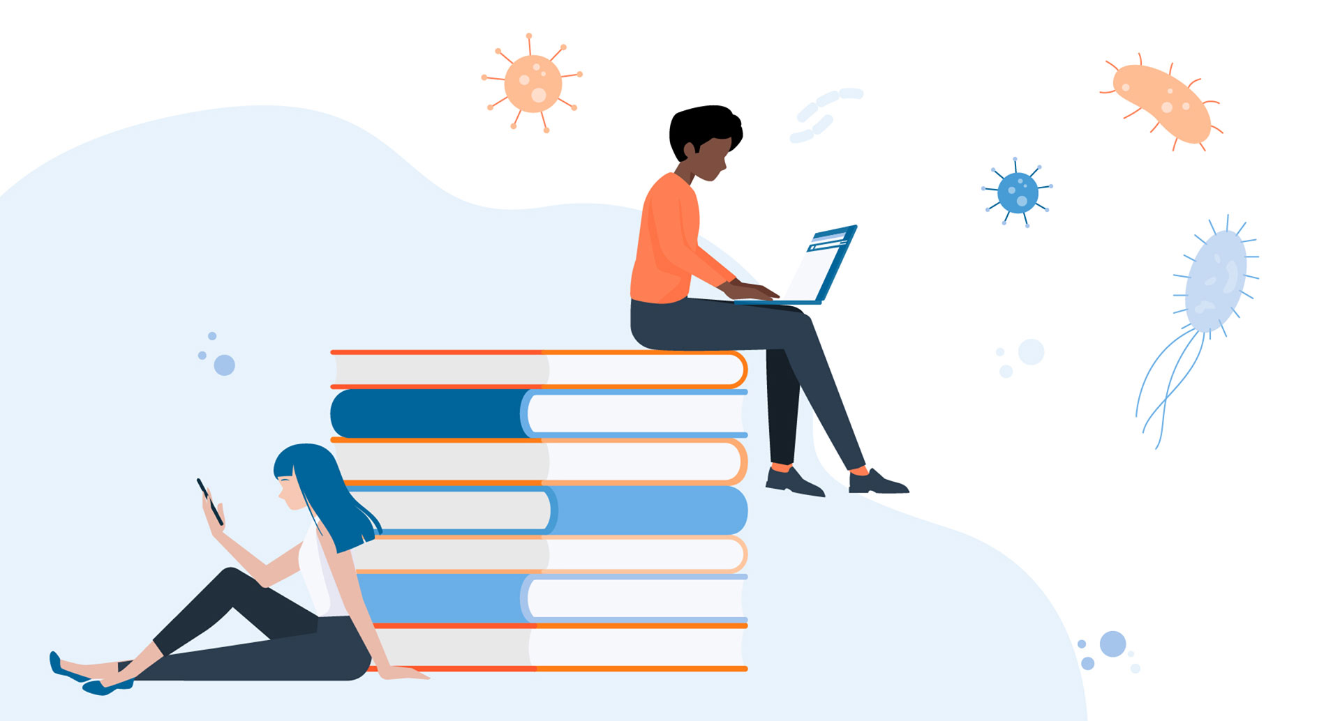 Illustration of two people on laptops on a giant pile of books