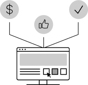 Graphic of computer with leads