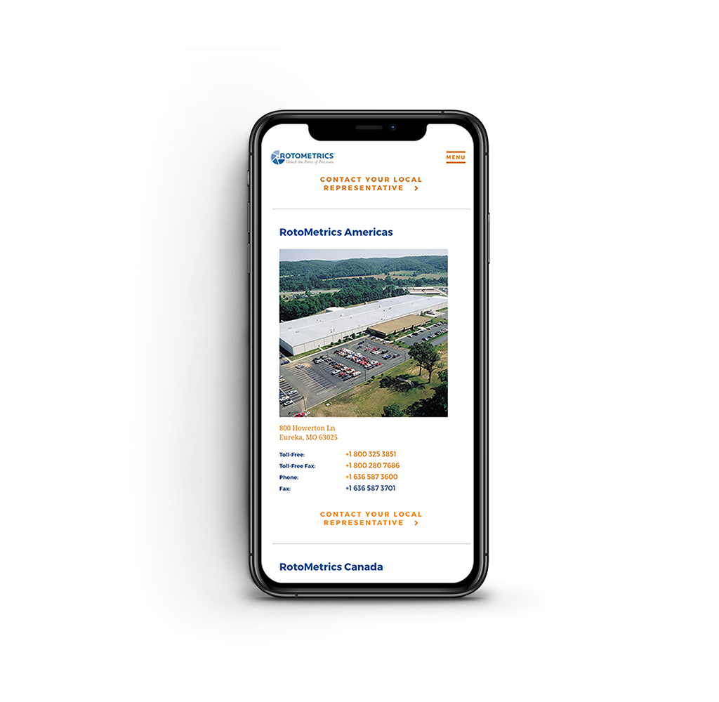 Phone with RotoMetrics website