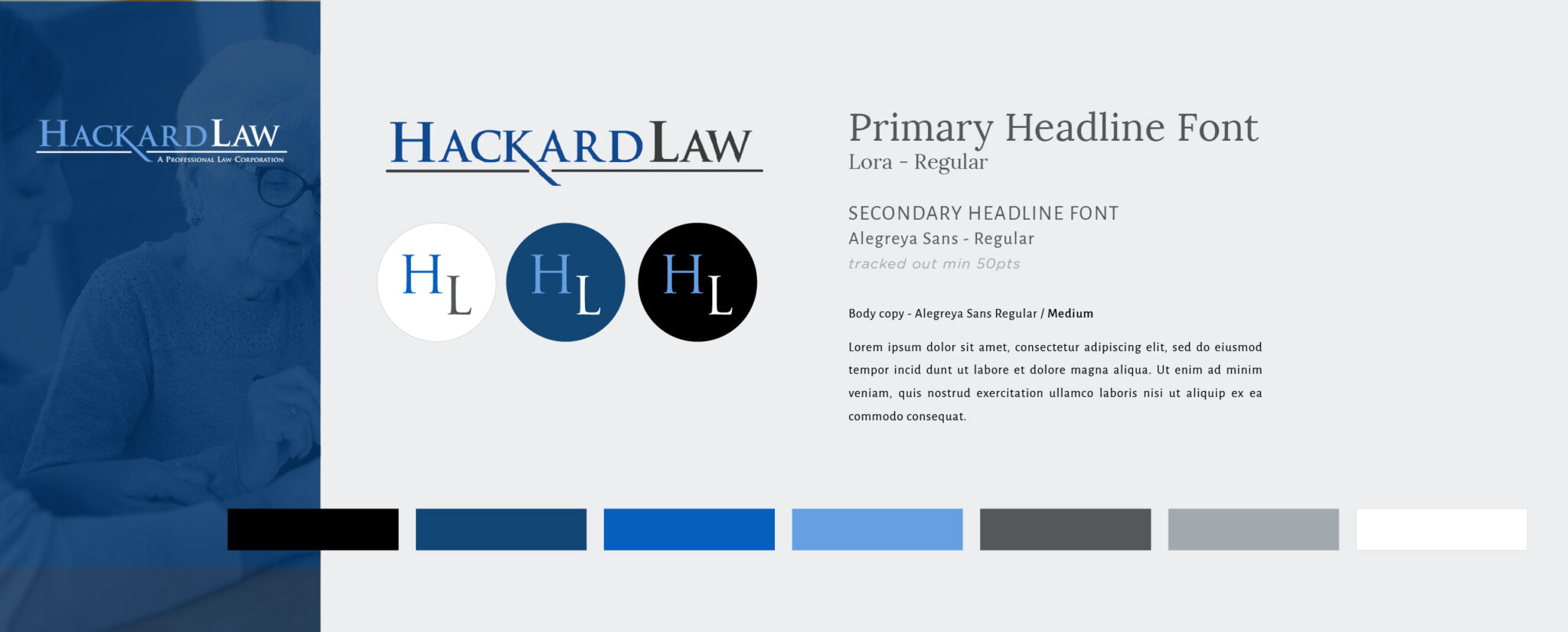Brand style guide shows logo, fonts and colors.