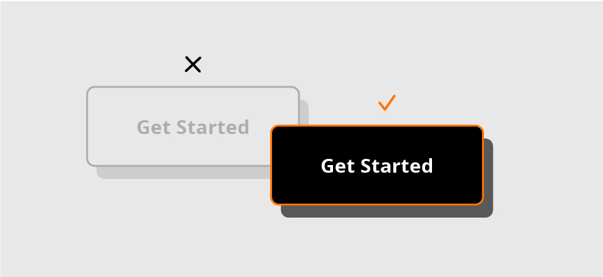 Example of a hard to read, grayed-out Get Started button versus an ada compliant and easy to read Get Started button