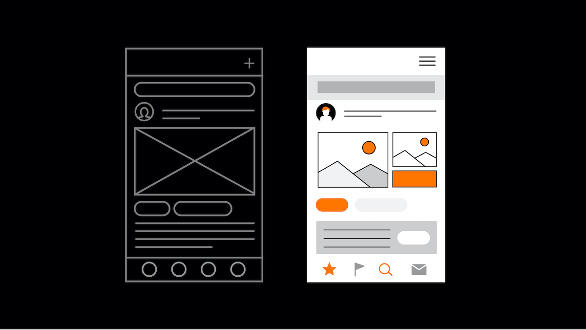 representation of user experience versus a user interface
